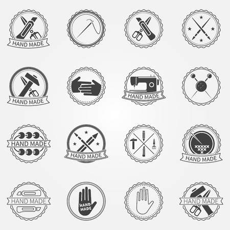 Handmade badges or labels - vector set of blak logo elements and symbols Çizim
