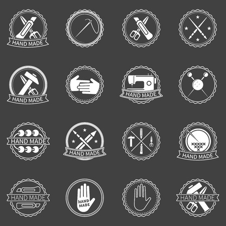 Handmade labels - vector set of white badges and symbols