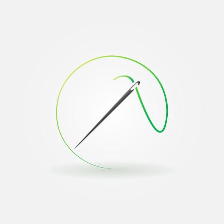 sew: Aguja icono brillante o logo - s�mbolo vector costura o elemento de dise�o