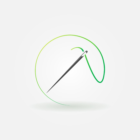 Needle bright icon or logo - vector sewing symbol or element for design