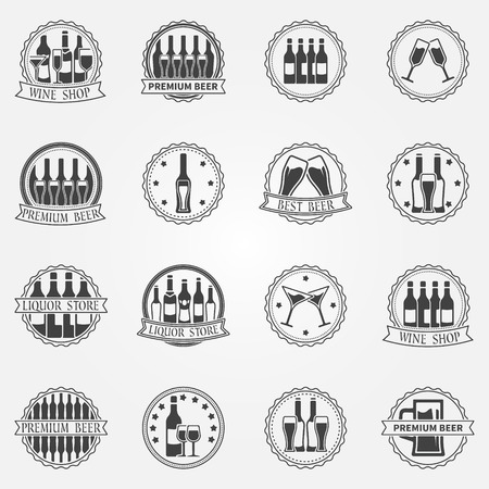 Wine and beer labels collection - vector set of black alcohol badges or icons Vector
