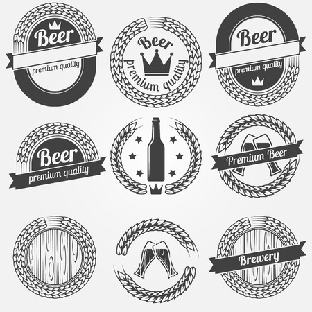 Beer labels or badges - vector black collection of brewery symbols in retro style