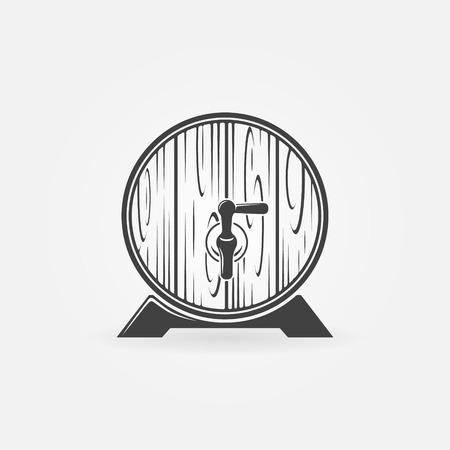 Beer wooden barrel logo or icon - vector black pub, brewery symbol Vector
