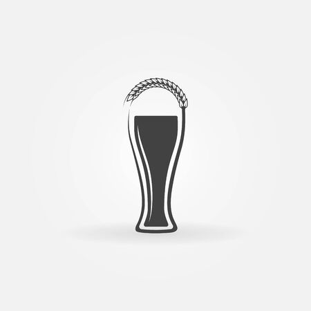 Glass of beer logo with ear of wheat - vector beer concept symbol or icon Vector