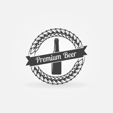 brewing: Premium beer bottle icon - black vector brewing company sign or symbol Illustration