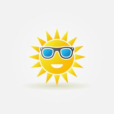 Sun with sunglasses icon or symbol - bright vector icon for travel company