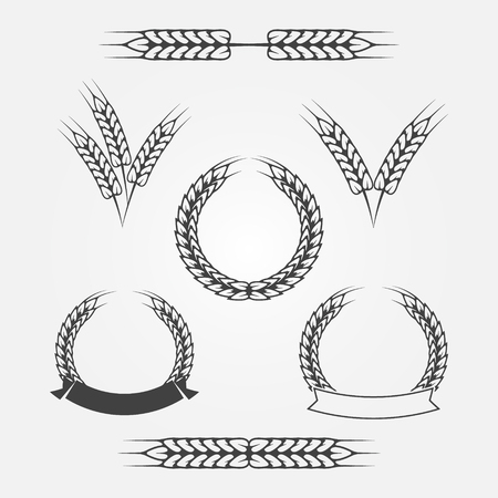 Wheat or rye icons set - black vector icon collection Illustration