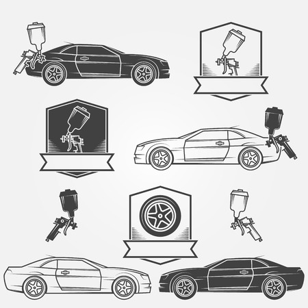 Car painting emblems or labels - vector badges and spray gun icons