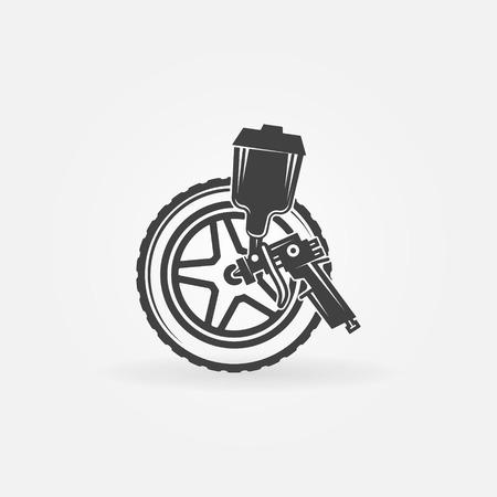 paint gun: Car wheel or rim paint with a spray gun vector logo or symbol Illustration