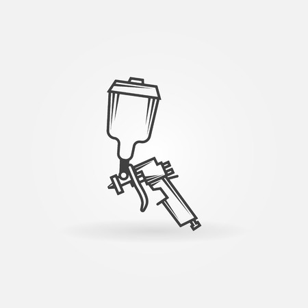 paint gun: Spray gun icon or logo - black vector symbol