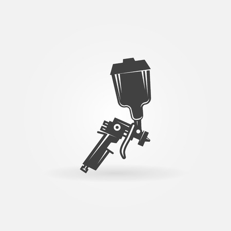 gun: Spray gun icon or logo - black vector sign