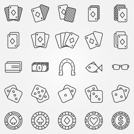 cards poker: Thin line poker or casino icons set - vector gambling symbols