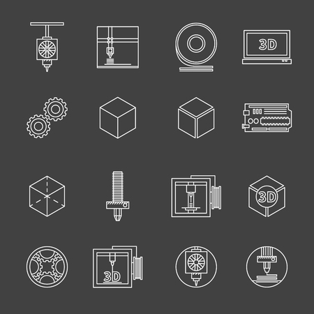 3D printer icons - set of white vector 3d print thin line icons Vector