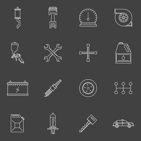 auto service: Auto service or repair icons set - car shop line symbols