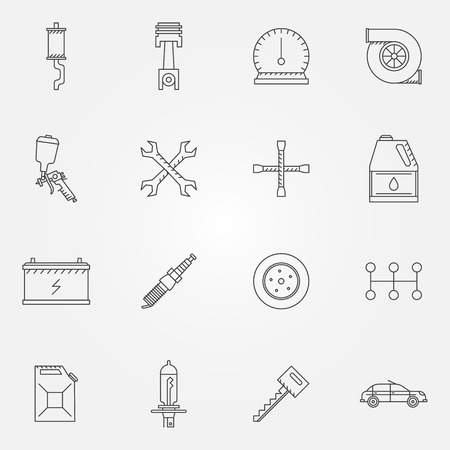 auto service: Auto service or repair icons - car line symbols Illustration