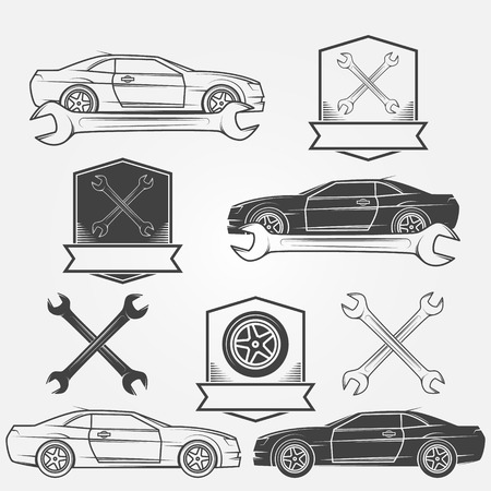 breakage: Auto service or repair labels - car vector badges
