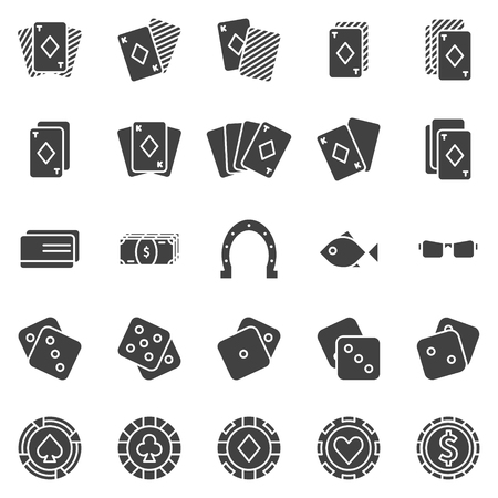 stroke of luck: Poker icons set - black vector casino symbols or signs