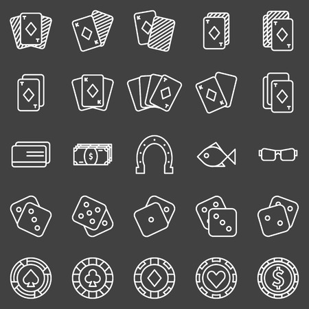 stroke of luck: Poker or casino icons set on black background - vector gambling symbols