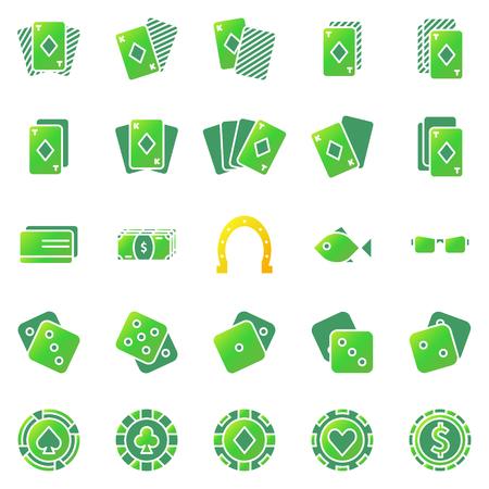 stroke of luck: Poker or casino icons set - green gambling symbols or logo Illustration