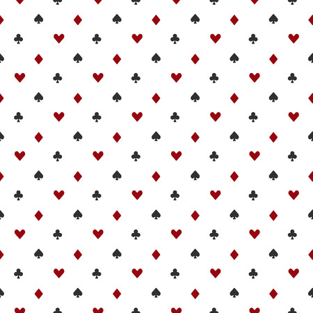 Poker or casino seamless pattern - vector white background with red and black playing card suits Ilustração