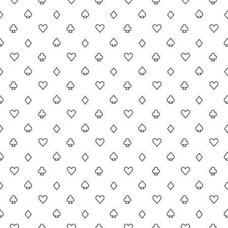 Poker pattern - vector seamless white background with playing card suits