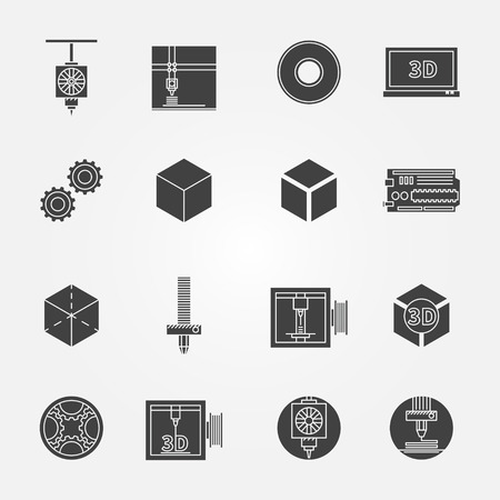 filament: 3D print icons black set - vector collection of 3d printing symbols or elements for design
