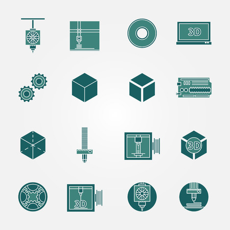 innovate: 3D print icons set - vector collection of 3d printing symbols or signs