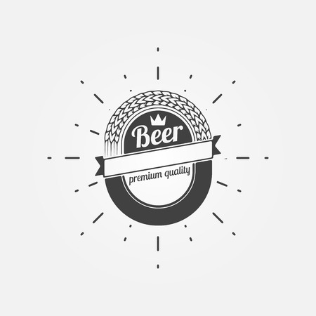 brewery: Beer emblem or label - vector black brewery logo