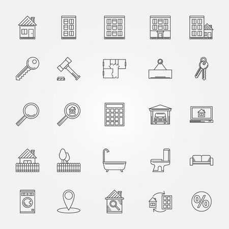 apartment search: Real estate icons set - vector thin line symbols