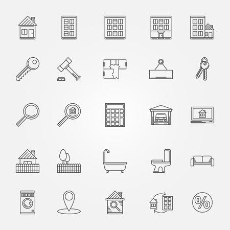shower room: Real estate icons set - vector thin line symbols