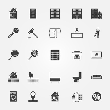shower room: Real estate or interior icons set - vector black collection of symbols