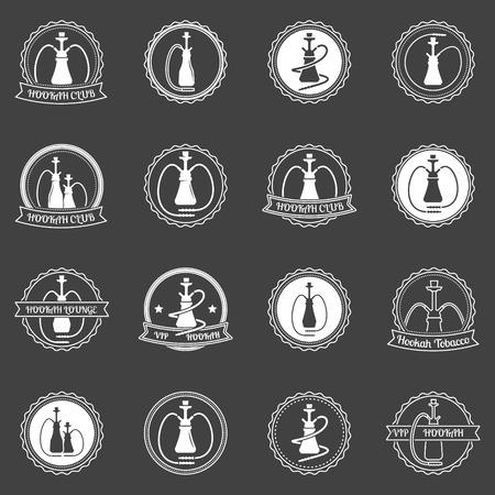 hookah: Hookah club or store badges - vector hookah store labels or logo on dark background Illustration