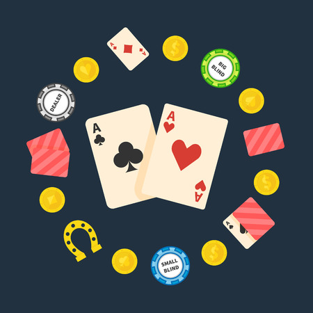 cards poker: Poker logo or symbol - vector flat poker illustration, gambling and casino logo Illustration