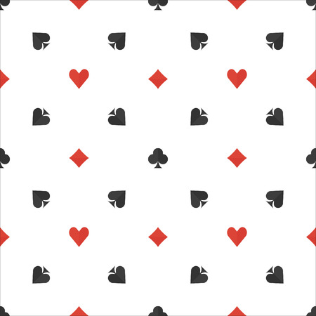 Poker flat pattern - seamless pattern with card suits, gambling or casino background