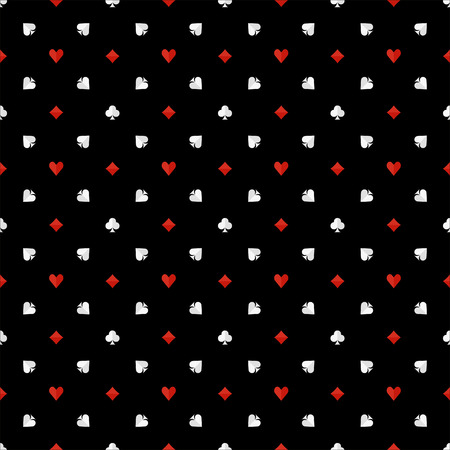 fabric patterns: Poker seamless pattern - dark flat texture with card suits, gambling or casino background