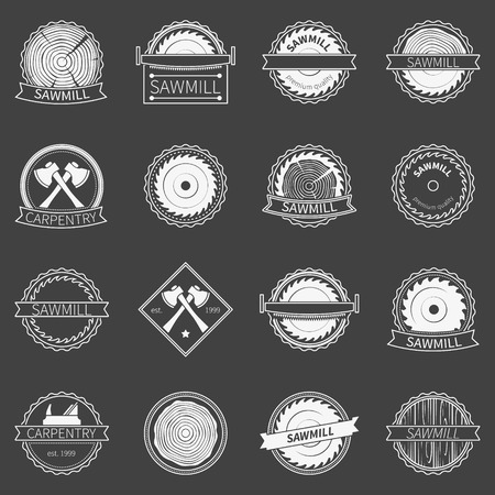 Sawmill badges or emblems - vector collection of white carpentry or saw logo on dark background Ilustracja
