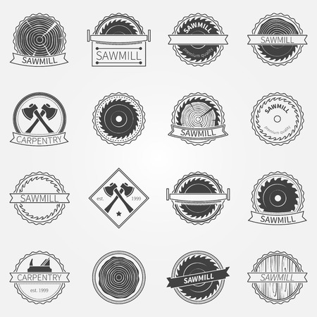 Sawmill labels and badges - vector set of dark sawmill or carpentry logo or emblems Ilustracja