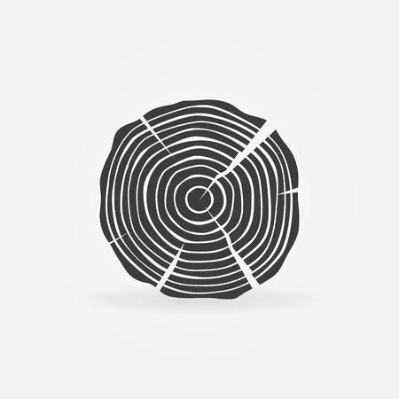 drewniane: Tartak drewno lub ikona logo - wektor drzewo czarne pierścienie wzrostu symbol lub znak Ilustracja
