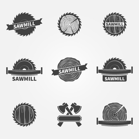 Sawmill logo or label - vector set of dark carpentry symbols or badges Ilustrace