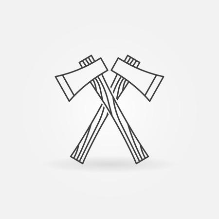 axes: Axe line icon -  crossed lumberjack axes symbol Illustration