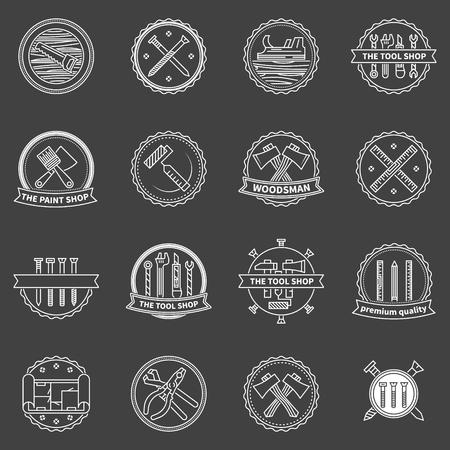herramientas de construccion: Herramientas insignias - Herramientas de trabajo etiquetas o iconos en fondo oscuro