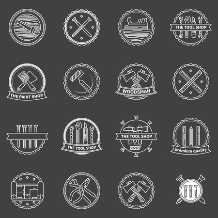 construction equipment: Tools badges -  work tools labels or icons on dark background