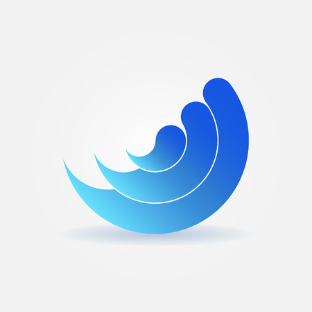 water stream: Wave icon - blue vector water sign or design element Illustration