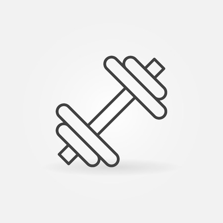 Dumbbell icon  - vector minimal sports symbol in thin line style