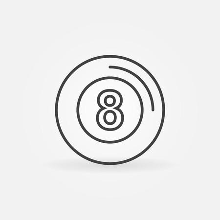 bola ocho: Bola ocho icono - billares vector s�mbolo de estilo de l�nea delgada, signo de la piscina Vectores