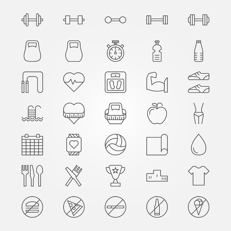 Fitness icons set - vector collection on thin line sport symbols or signs