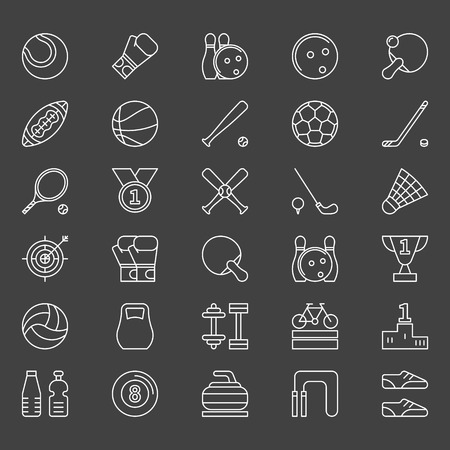 Sport icons set - vector sports symbols in thin line style on dark background Illustration