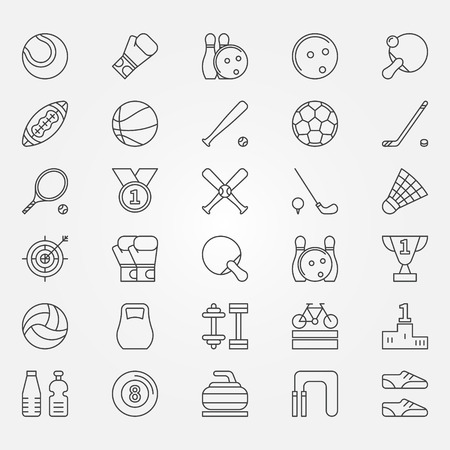 Sport lijn iconen - vector sport symbolen of tekens in dunne lijn stijl Stock Illustratie