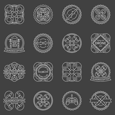 controll: Quadrocopter labels or badges - vector set of drone logo or design elements on dark background Illustration
