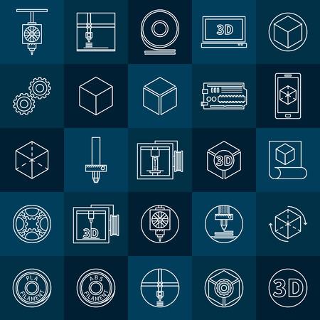 Icônes d'impression 3D set - vector collection de blancs symboles d'impression 3D dans le style de ligne mince Banque d'images - 42916793